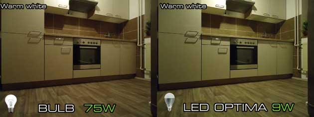 The classic light bulb 75W vs LED bulb 9W Optima